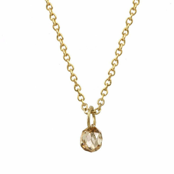 Tiny Constellation drop necklace with small champagne diamond on a yellow gold chain.