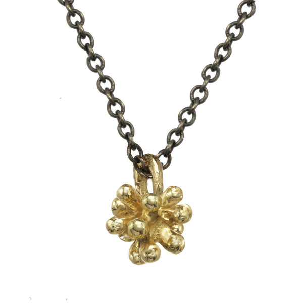 Tiny 14kt and 18kt gold Dandelion Flower Pendant Necklace with oxidized silver chain