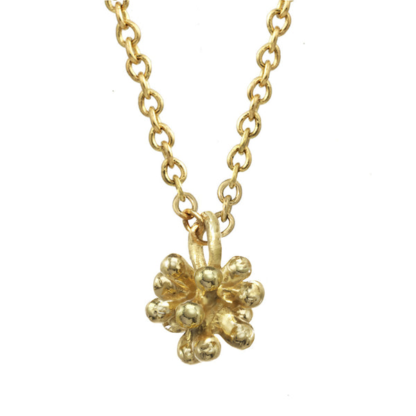 Tiny 14kt and 18kt gold Dandelion Flower Pendant Necklace with gold chain