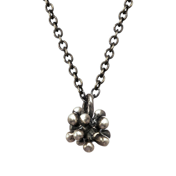 Tiny oxidized silver Dandelion Flower Pendant Necklace with oxidized chain