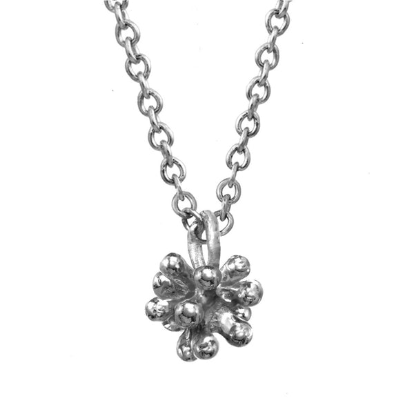 Tiny sterling silver Dandelion Flower Pendant Necklace with silver chain