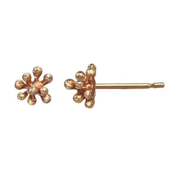 Tiny 14kt and 18kt rose gold Dandelion Flower Stud Earrings in pink