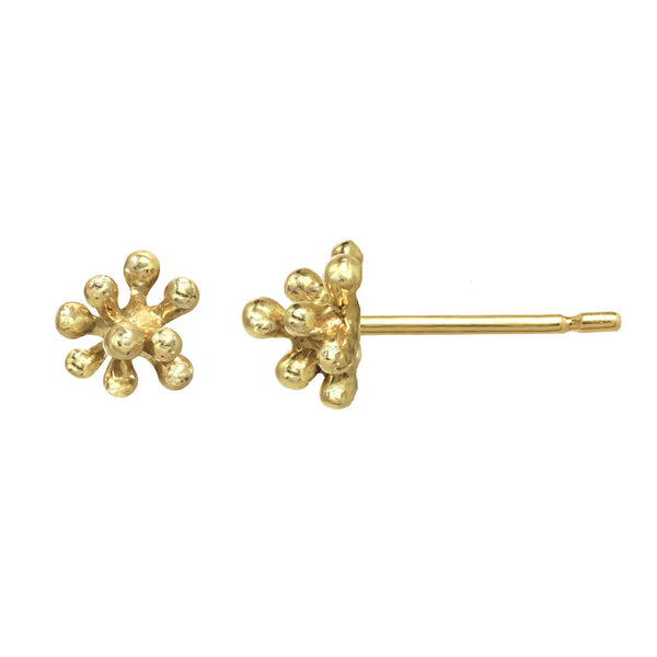 Tiny 14kt and 18kt gold Dandelion Flower Stud Earrings
