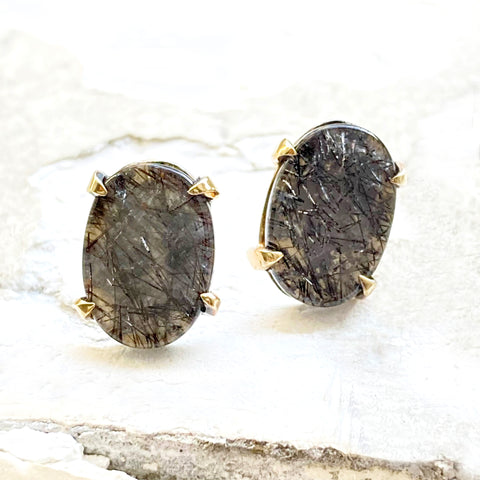 Black and Gold Tourmalated Quartz Studs