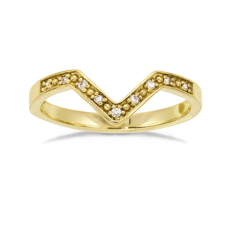 Frame v-shape ring with tiny white diamonds in gold. Classic shape for engagment and wedding rings.
