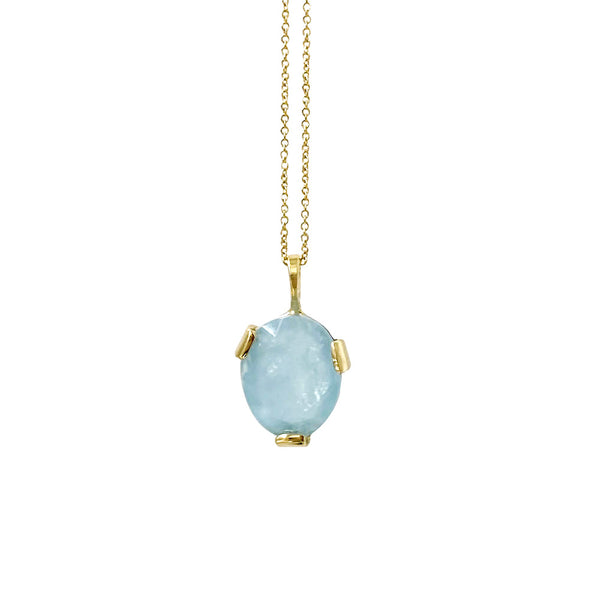 Small Aquamarine Three-prong Necklace