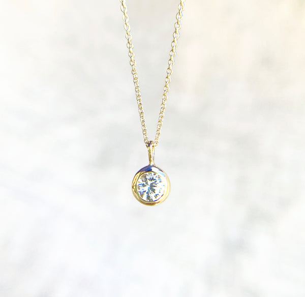White Topaz Gold Necklace