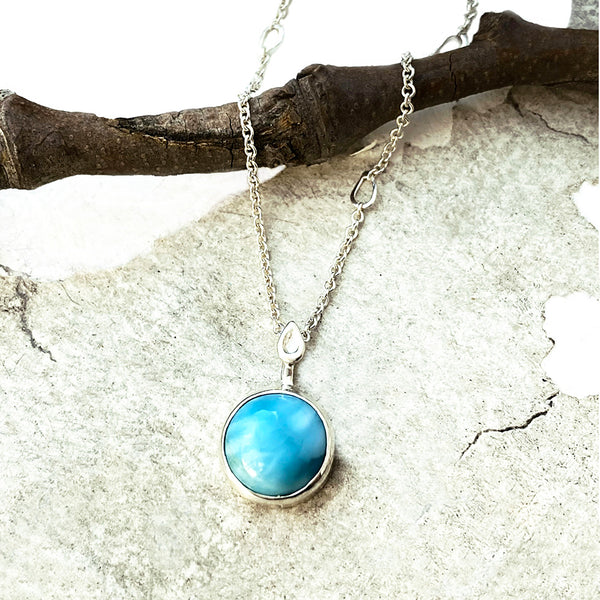 Small Round Larimar Leaf Necklace