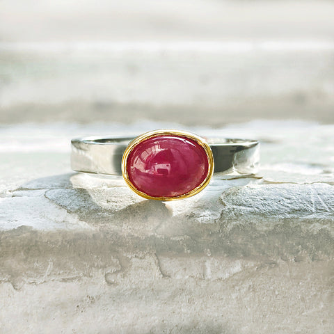 Oval Ruby Mixed Metal Ring