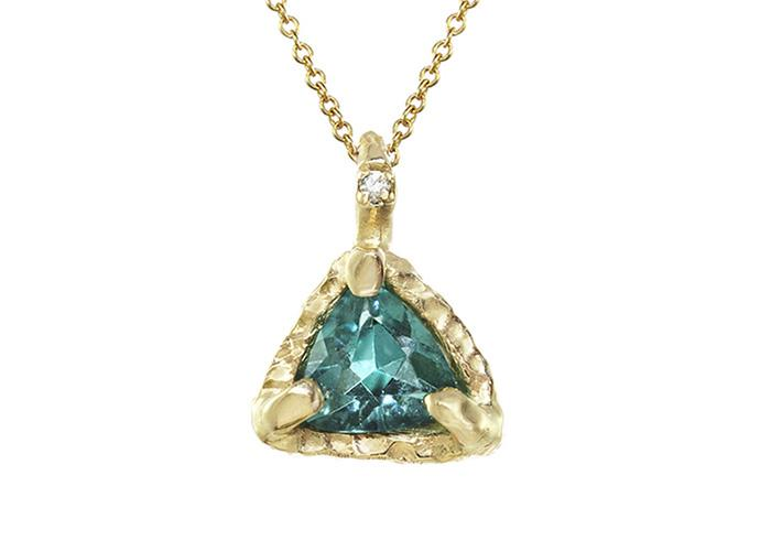 Triangle Tourmaline Pendant in gold with a tiny diamond