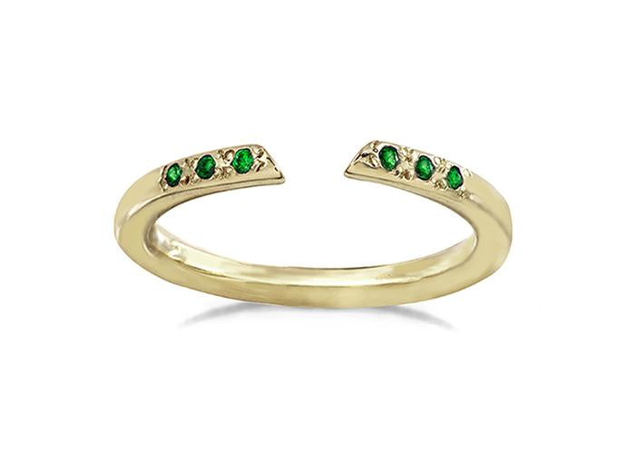 Open Arms Ring with six emerald stones