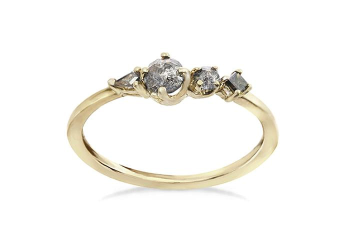 Small Brilliance Ring with salt and pepper rough diamonds