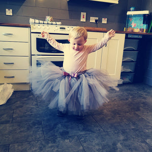 Silver Grey Tutu Six Stories Flower Girl Dresses