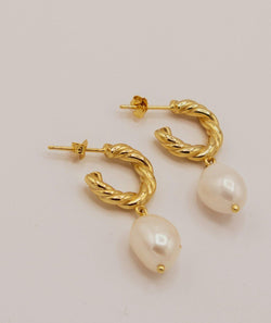Bethany Jayne 18K Gold Baroque Pearl Hoop Earrings - Six Stories 18K Gold Vermeil Earrings
