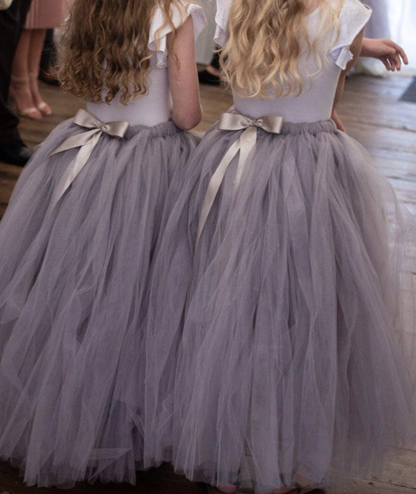 Flower Girl Skirt | Tulle Skirt Silver Grey Bridal | Six Stories Girls Tutu Handmade in the UK