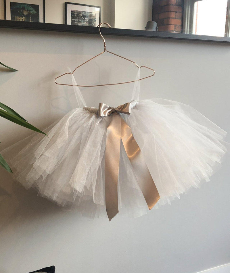 Silver Shimmer Flower Girl Dresses | Tulle Skirt Silver Shimmer | Six Stories Girls Tutu Handmade in the UK