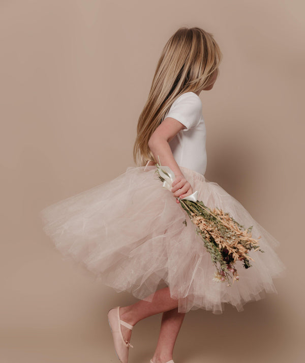 Champagne Flower Girl Dresses | Tulle Skirt Champagne | Six Stories Girls Tutu Handmade in the UK