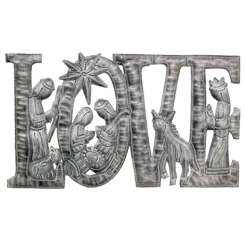 "LOVE Metal Art with Nativity Scene (9"" x 14"")"