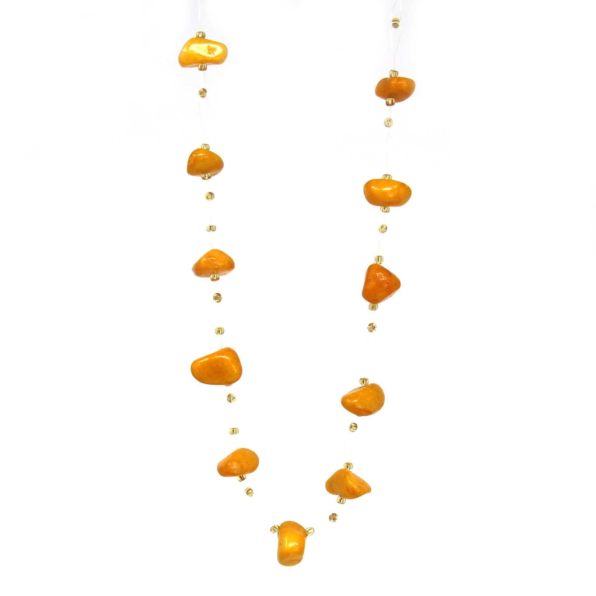 Floating Stone & Maasai Bead Necklace, Pumpkin Spice