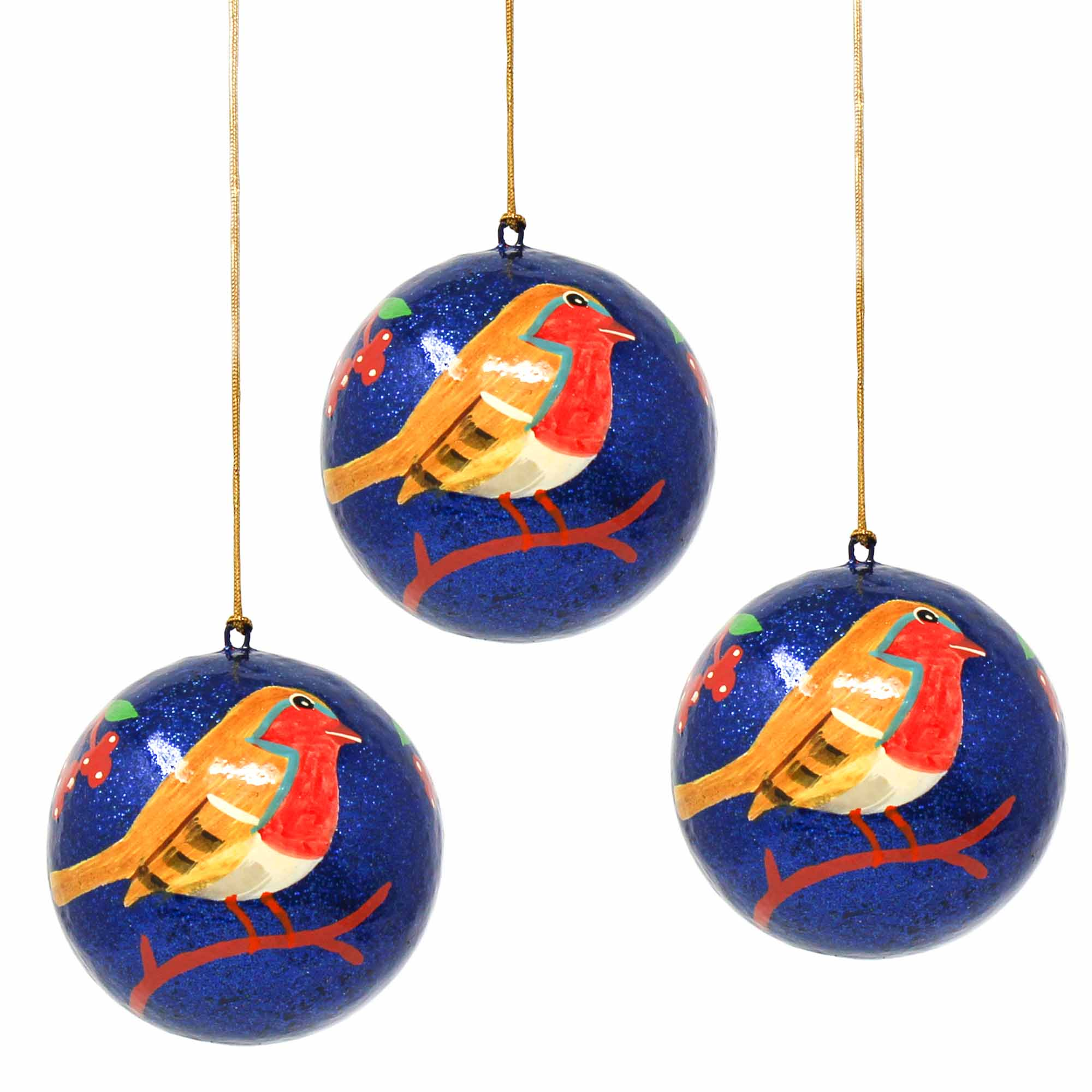 Handpainted Ornament Bird on Branch - Pack of 3