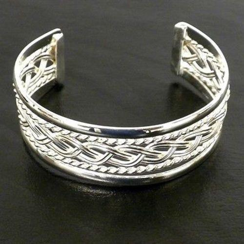 Silver Overlay Cuff Braided Design Handmade and Fair Trade