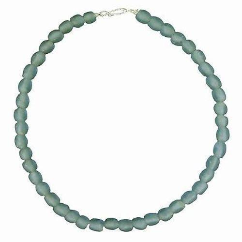 Sky Blue Pearl Glass Bead Necklace Handmade and Fair Trade