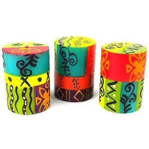 Set of Three Boxed Hand-Painted Candles - Matuko Design Handmade and Fair Trade