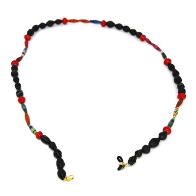 Face Mask/Eyeglass Paper Bead Chain, Black and Red