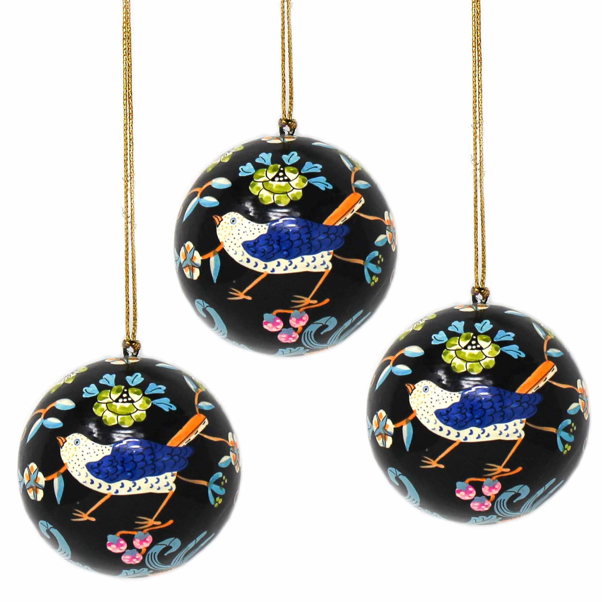Handpainted Ornament Birds and Flowers, Black - Pack of 3