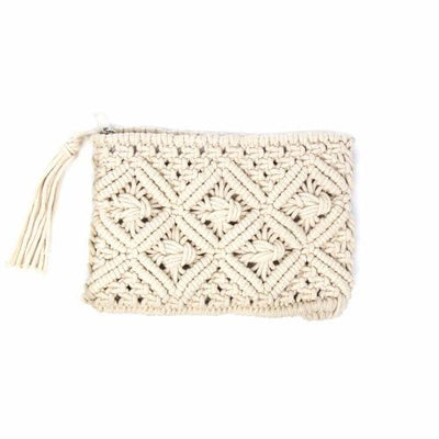 Macrame Clutch with Tassel, Cream