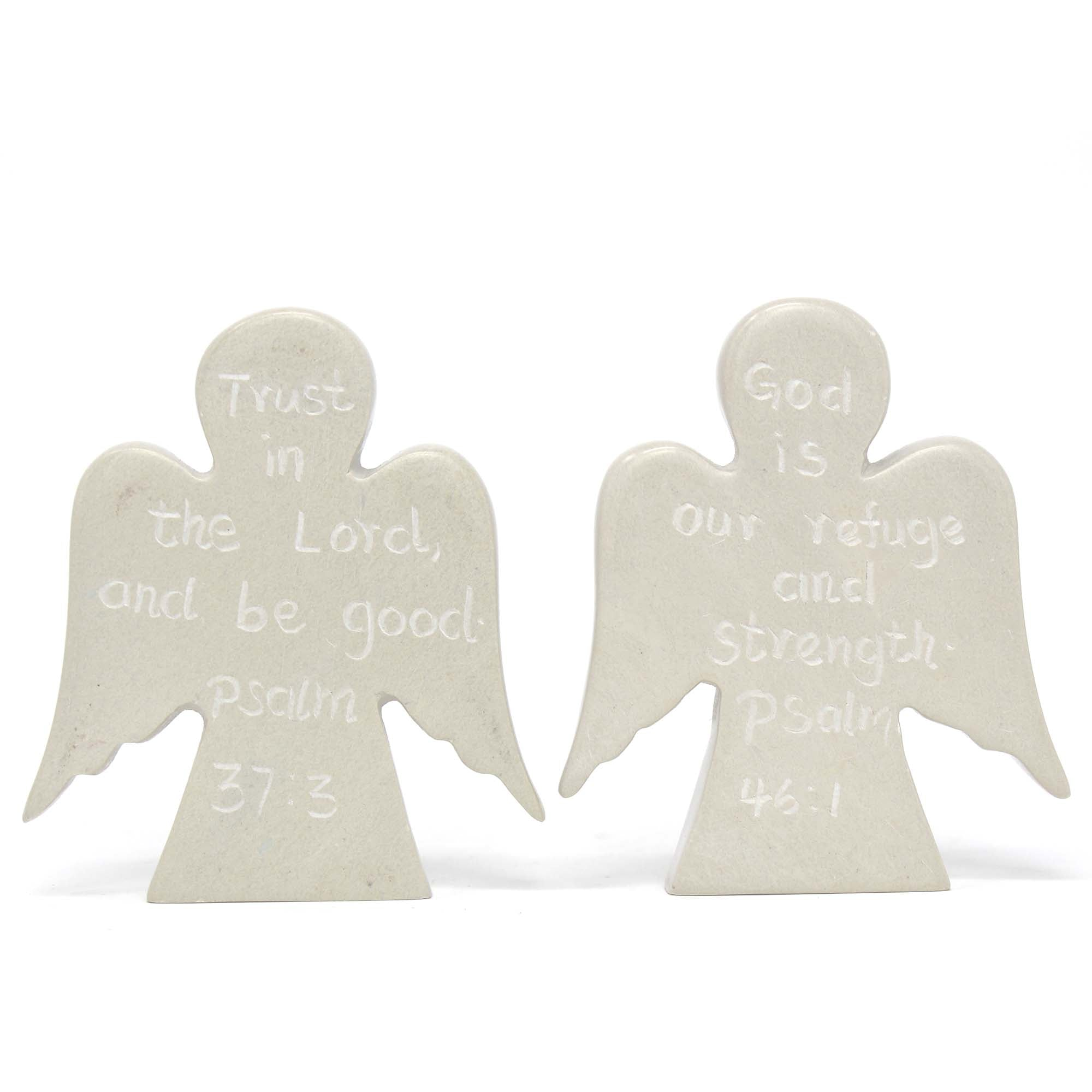 Angel Devotional Tokens with Psalm Inscriptions, Set of 2