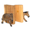Carved Wood Zebra Book Ends, Set of 2