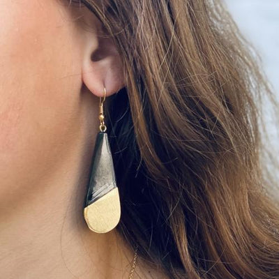 Brass & Black Horn Bisected Teardrop Earrings