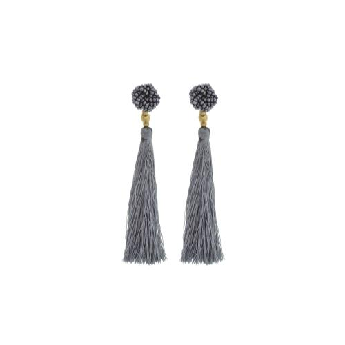 The Rosette Tassel Earring, Steel - Aid Through Trade