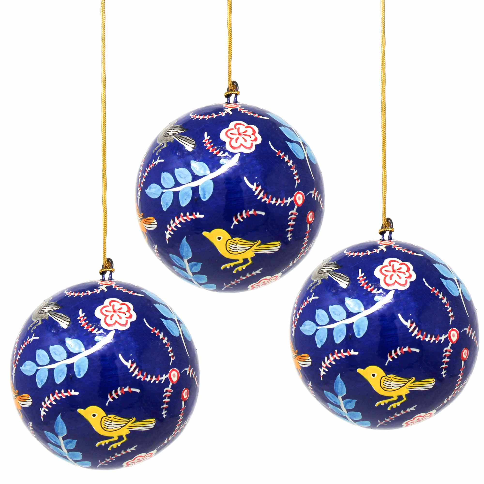 Handpainted Ornament Birds and Flowers, Blue - Pack of 3