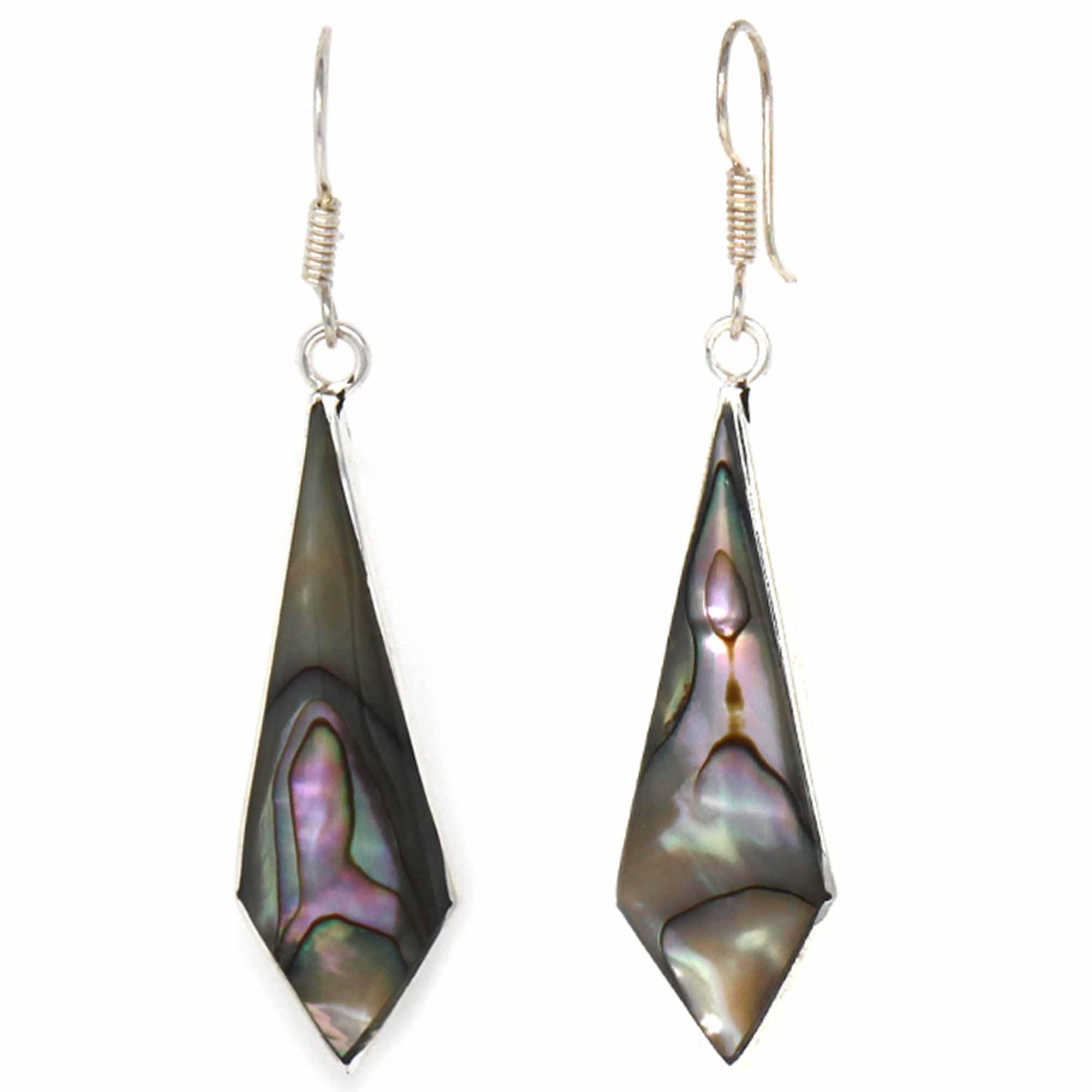Abalone Diamond-Shaped Dangle Earrings