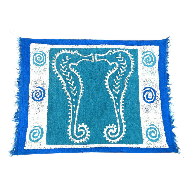 Handpainted Blue Seahorse Batiked Placemat