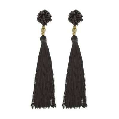 The Rosette Tassel Earring, Black - Aid Through Trade