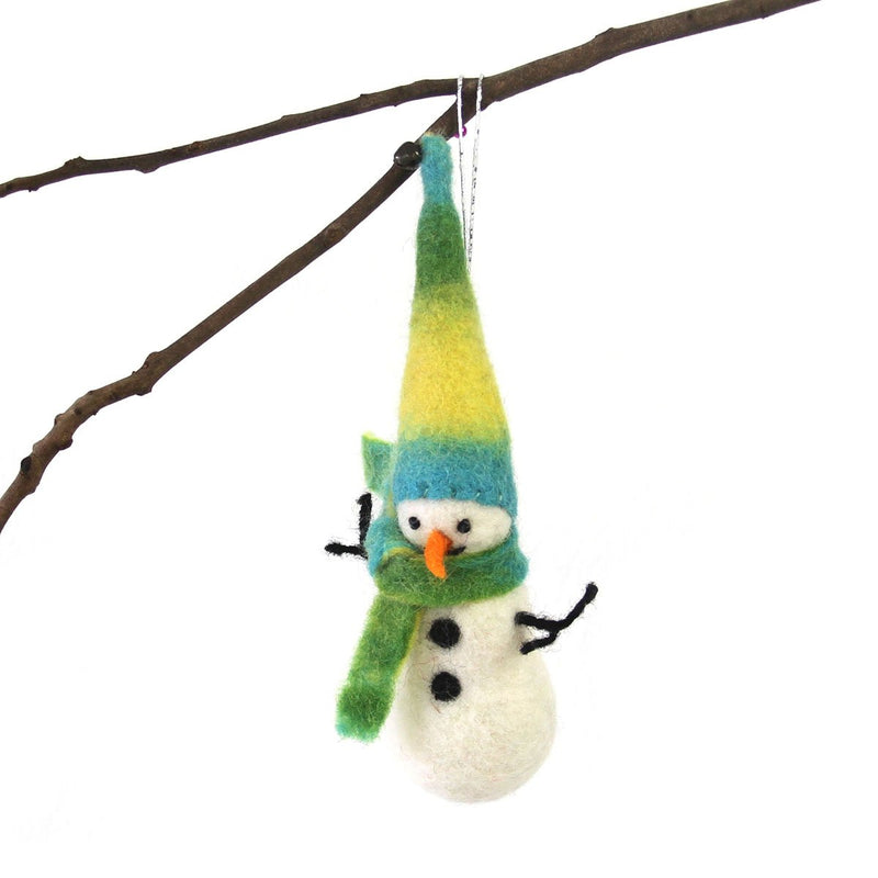 Hand Felted Christmas Ornament: Snowman - Global Groove (H)