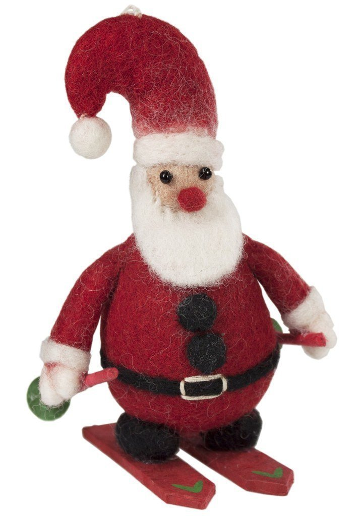 Skiing Santa Felt Ornament