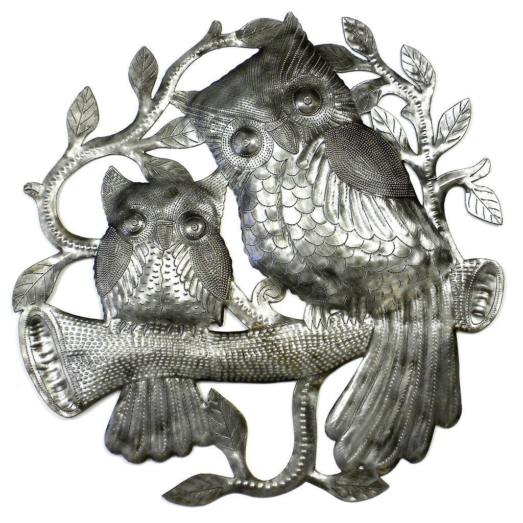 Pair of Owls on Perch Metal Wall Art