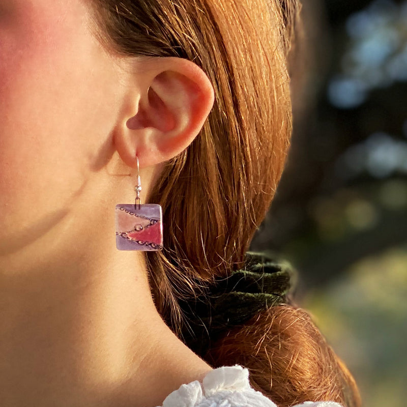 Square Glass Dangle Earrings, Zig Zag Purple & Pink - Tili Glass