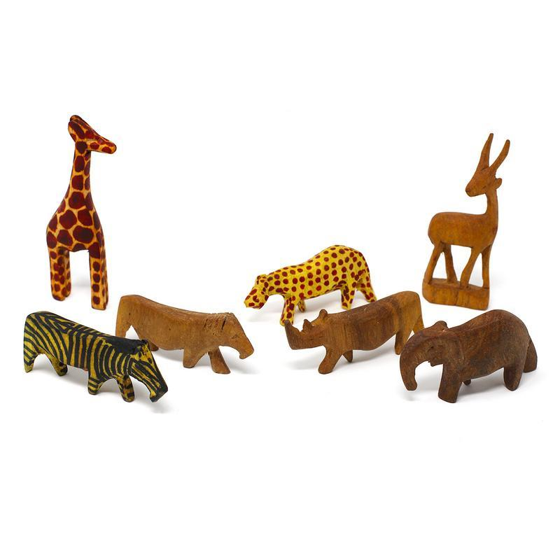Handcarved Miniature Wood Safari Animals, Set of 7
