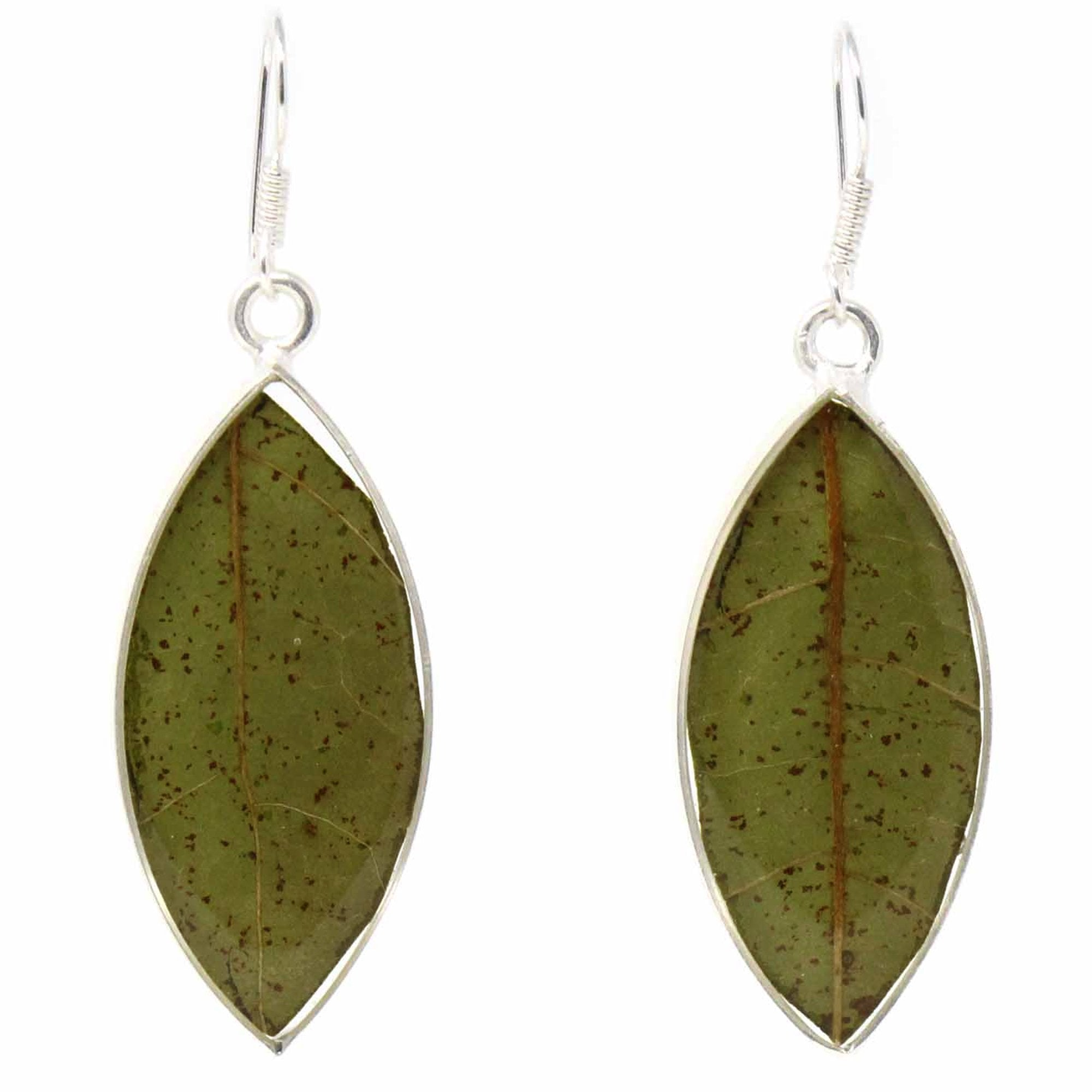 Earrings, Natural Leaf in Resin