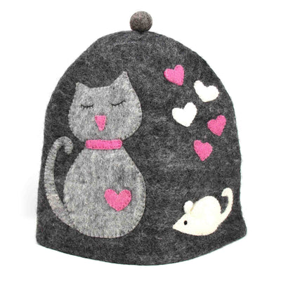 Hand Crafted Felt: Cat Tea Cozy