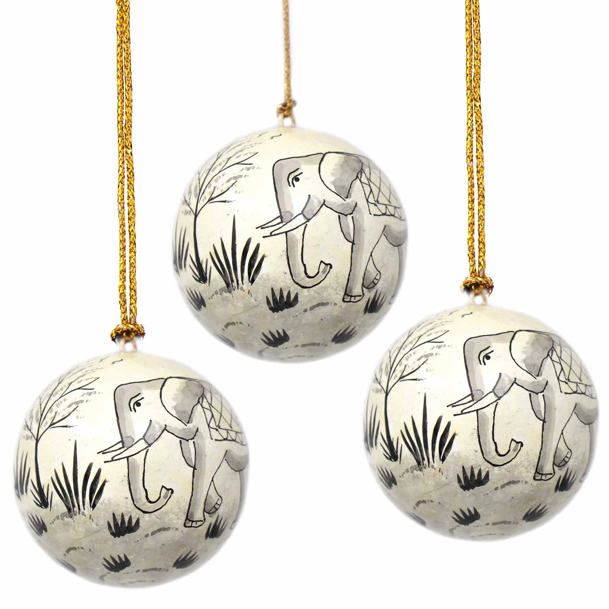 Handpainted Ornament Elephant - Pack of 3
