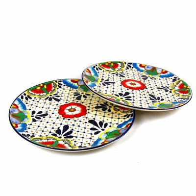 Dinner Plates 11.8in - Dots and Flowers, Set of Two