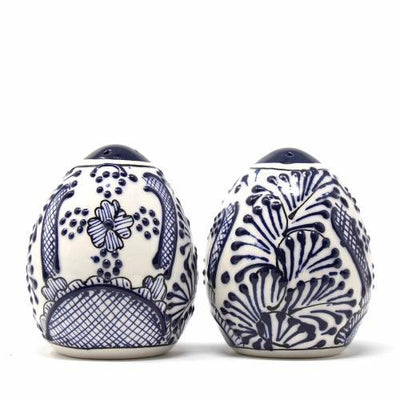 Salt Shakers - Blue Flowers Pattern, Set of Two