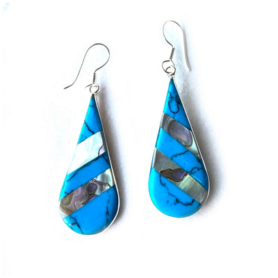 Abalone & Turquoise Striped Teardrop Earrings