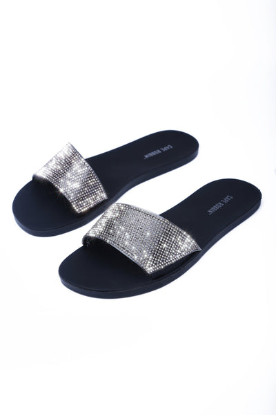 BRIGHTLY ROYAL DIAMOND SLIDES-BLACK